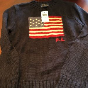 Boys navy Ralph Lauren flag sweater
